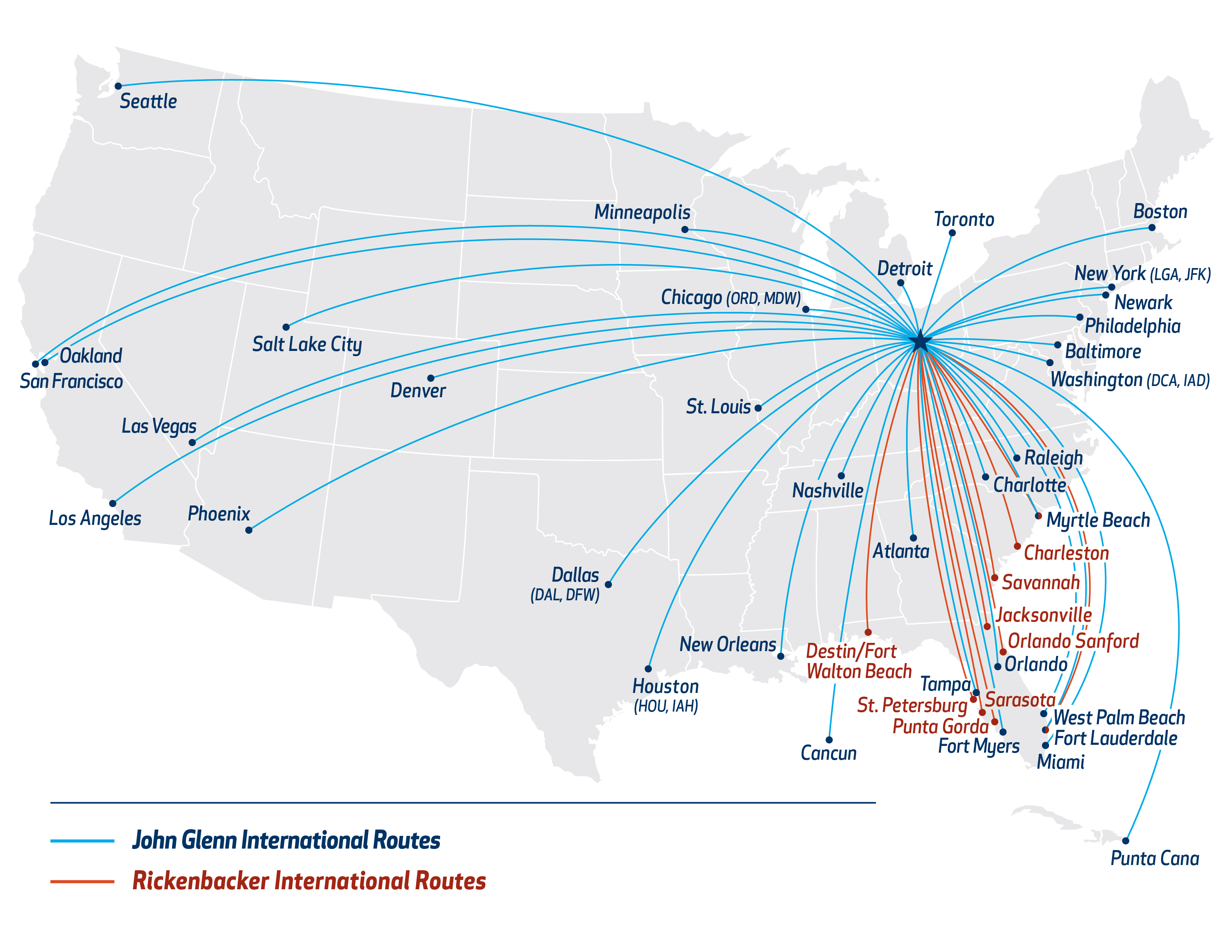 Explore Flights To And From Columbus Ohio Flights To Cmh - Us-airline-hubs-map